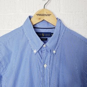 Ralph Lauren blue and white striped shirt